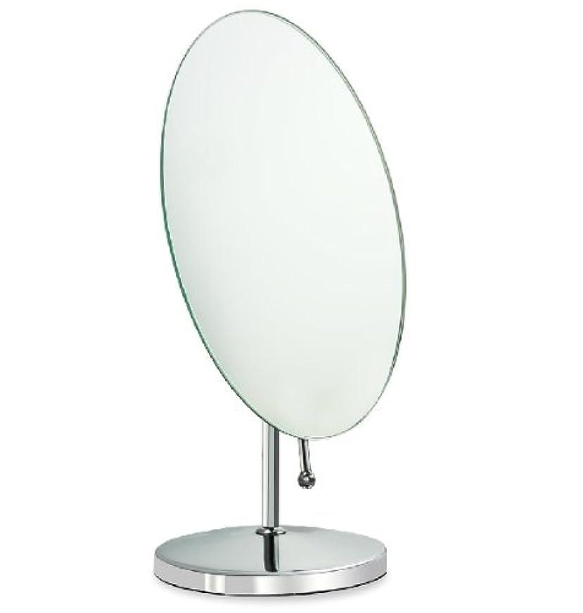 内向きランプ事務所鏡 卓上鏡 化粧鏡 スタンドミラー 全方向可動式 取っ手付き鏡 大きめな楕円形
