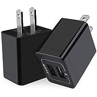 ACアダプター iPhone USB充電器 2ポートスマホ充電器 Ailkin usbコンセント Type c充電器 andoroid充電器 アイホン充電器 2台同時に充電 5V/2.1A出力 iPhone XS / XS Max / XR / X / 8 / 7 / 6 / Plus、iPad / Pro / Air / Mini & Android スマートフォン タブレット モバイルバッテリーに対応 (2個セット/ ブラック)
