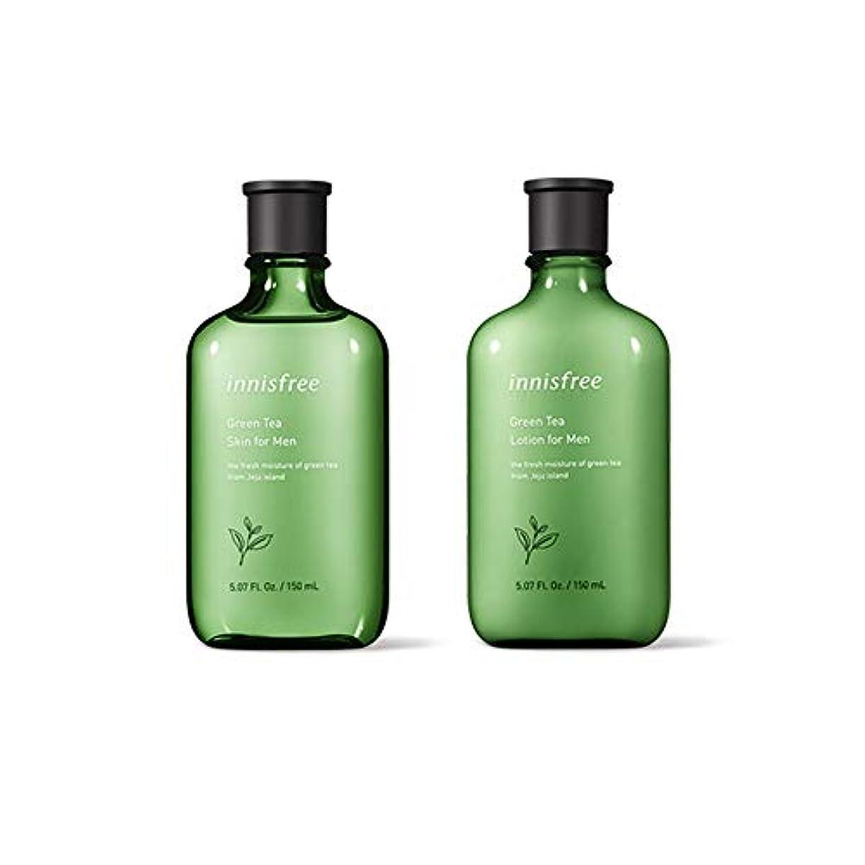 乗り出す同僚飲料イニスフリー Innisfree グリーンティースキン & ローションセットフォーメン(150ml+150ml) Innisfree Green Tea Skin & Lotion Set For Men(150ml+150ml...