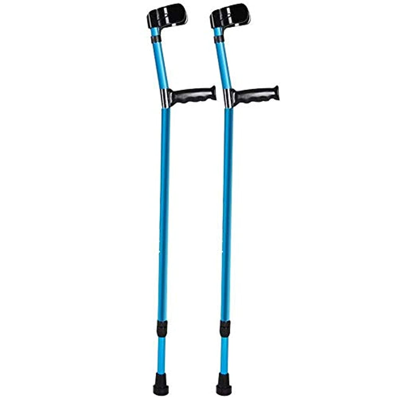 喜んで結果として上に築きます青い快適な前腕の杖、障害のある傷つけられたアルミ合金の折り畳み式松葉杖 - サポート安全補助バランス、歩行補助器具の高さ調節可能な杖 (Color : Blue*2)