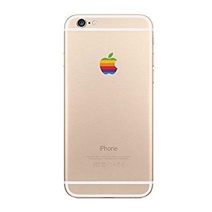 SYNC iPhone 8 iPhone Xも対応!! iPhone 5 6 7 SE 等各種対応 アイフォン レインボー デカール ステッカー りんご 型 Apple ロゴ シール 2枚セット