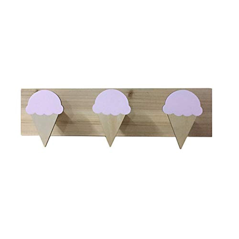 bjlongyi スイートアイスクリーム 3フック 木製壁取り付けハンガー 子供部屋 寝室 装飾 ピンク bjlong