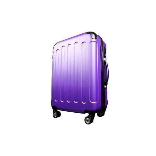 スーツケース/キャリーバッグ 【Lサイズ/大型7~14日】 TSA搭載 軽量 ファスナー パープル(紫)