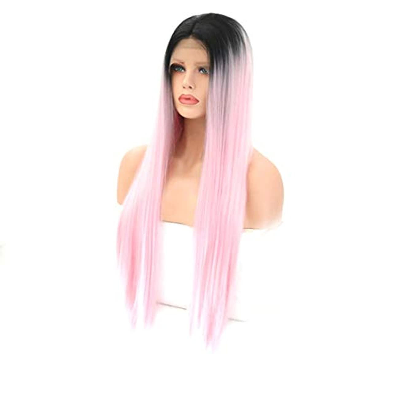 クラッシュ簡略化するより平らなKerwinner 女性用フロントレースウィッグ化学繊維シルキーロングストレート耐熱合成かつら