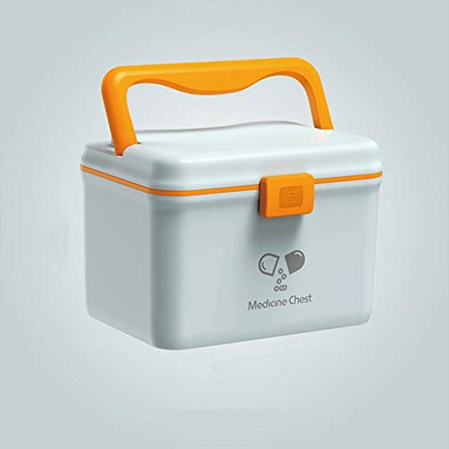 アラバマ意外勢い薬箱の世帯の携帯用薬箱ロックが付いている二重層の大容量の薬剤の収納箱 SYFO (Color : Blue, Size : L)