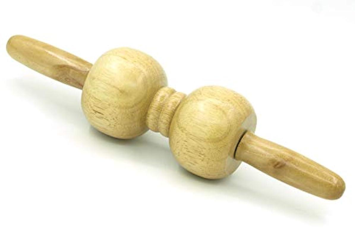 木製 マッサージ ローラー 棒 2玉