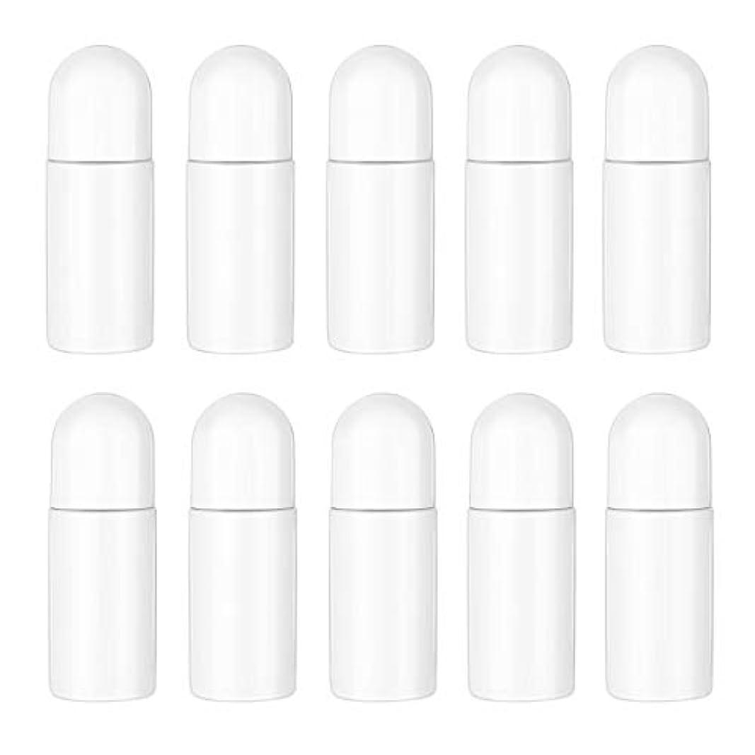 母性ヘッジメトロポリタンHealifty エッセンシャルオイル香水化粧品50 ml(白)の10ピースプラスチックローラーボトル空の詰め替え可能なローラーボールボトル