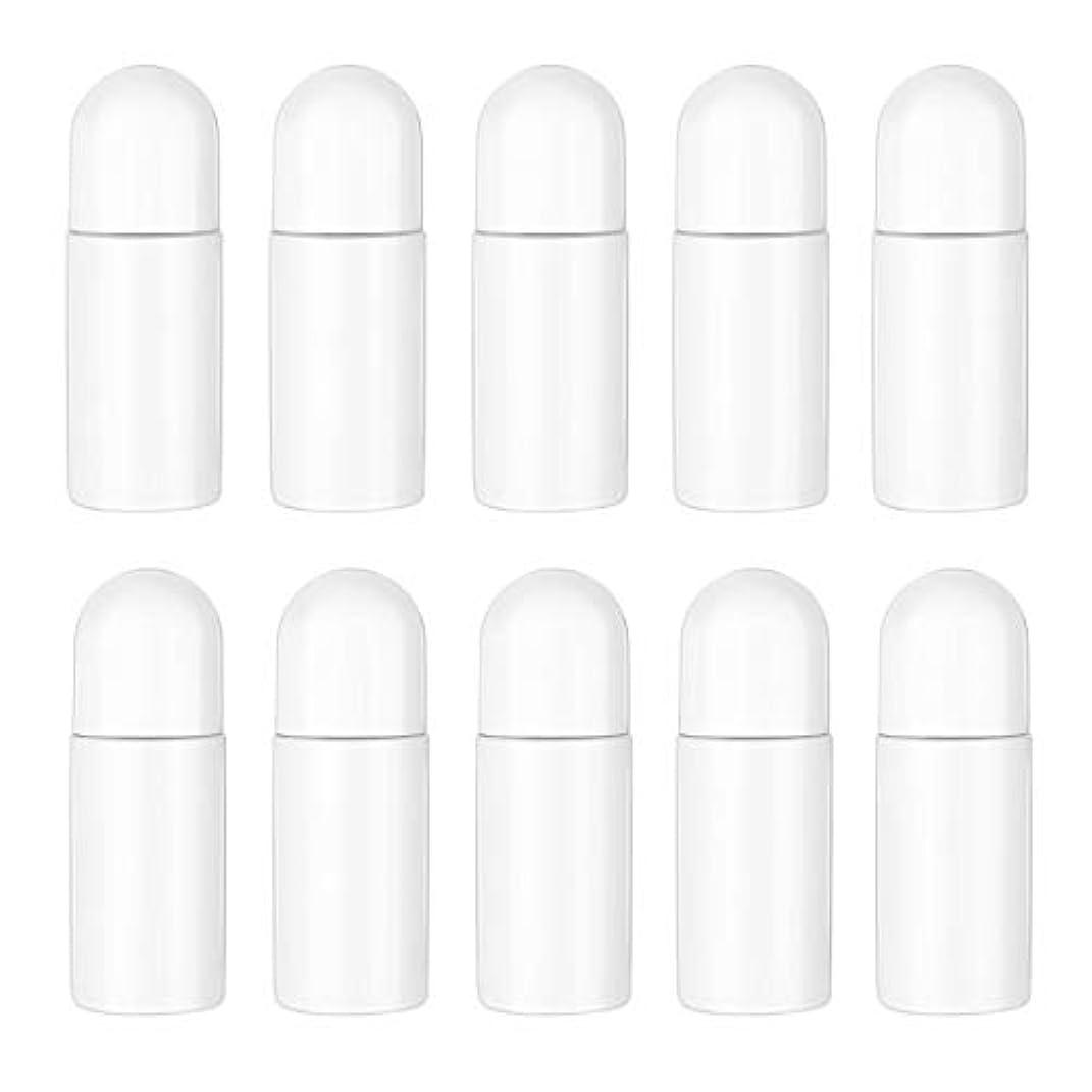 Healifty エッセンシャルオイル香水化粧品50 ml(白)の10ピースプラスチックローラーボトル空の詰め替え可能なローラーボールボトル