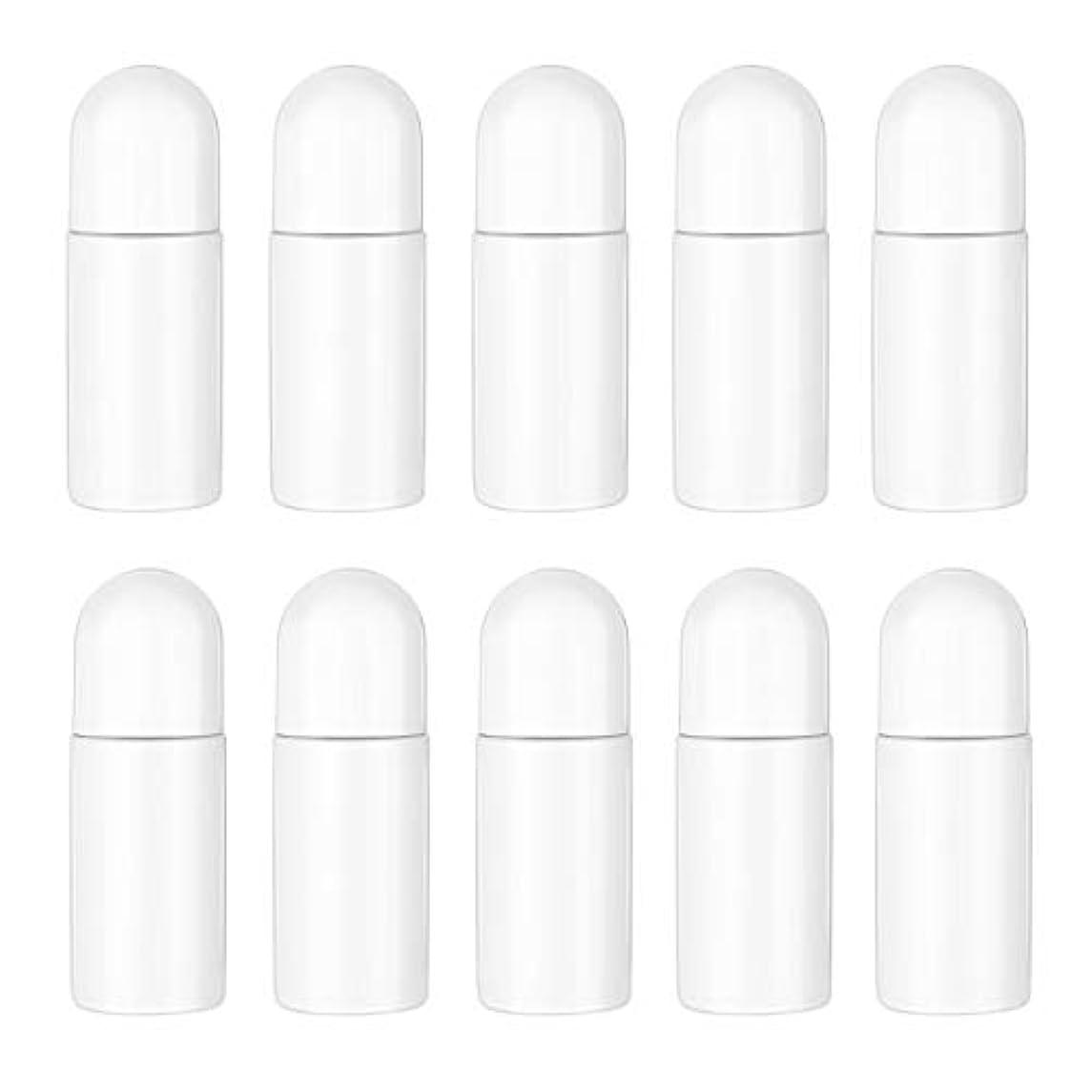 ただアーティファクト性格Healifty エッセンシャルオイル香水化粧品50 ml(白)の10ピースプラスチックローラーボトル空の詰め替え可能なローラーボールボトル