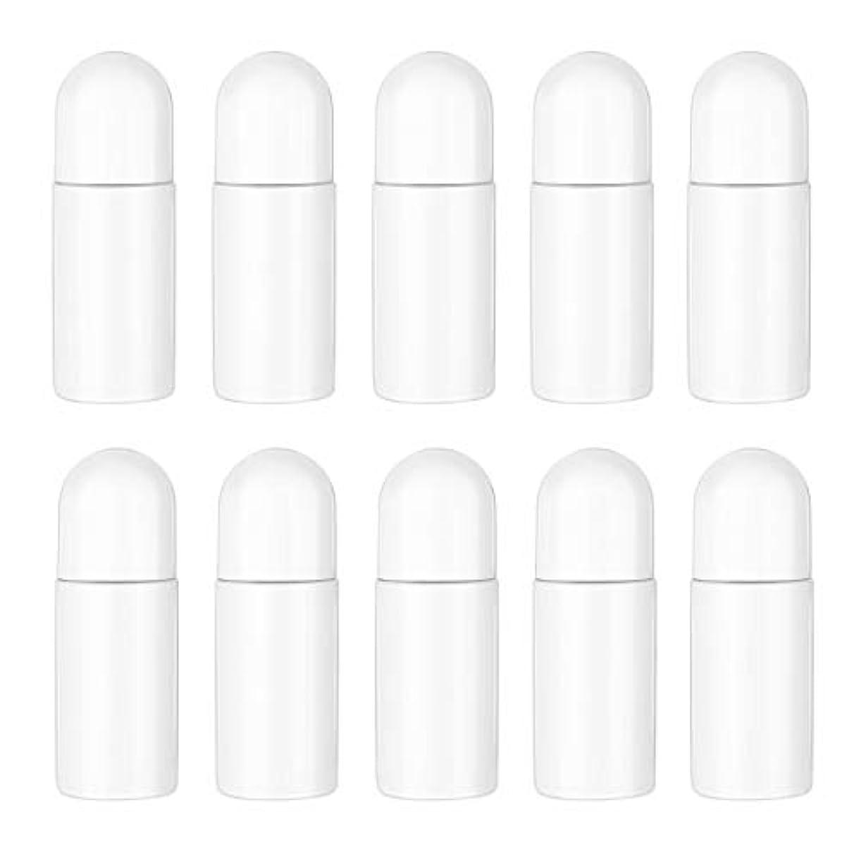 ペック手術予見するHealifty エッセンシャルオイル香水化粧品50 ml(白)の10ピースプラスチックローラーボトル空の詰め替え可能なローラーボールボトル