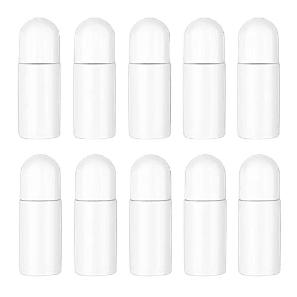 開発する各ぐるぐるHealifty エッセンシャルオイル香水化粧品50 ml(白)の10ピースプラスチックローラーボトル空の詰め替え可能なローラーボールボトル