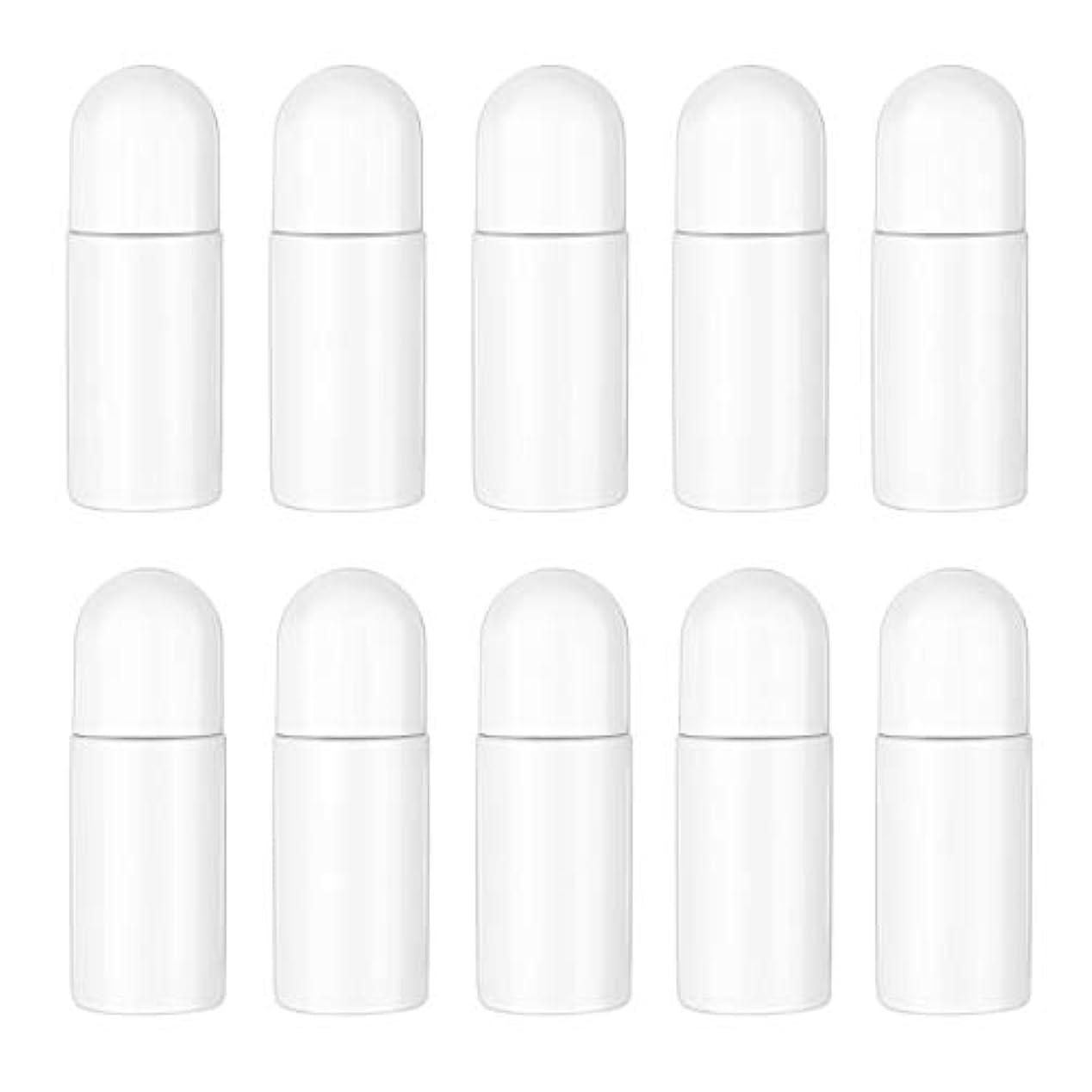 女王研究所制限するHealifty エッセンシャルオイル香水化粧品50 ml(白)の10ピースプラスチックローラーボトル空の詰め替え可能なローラーボールボトル