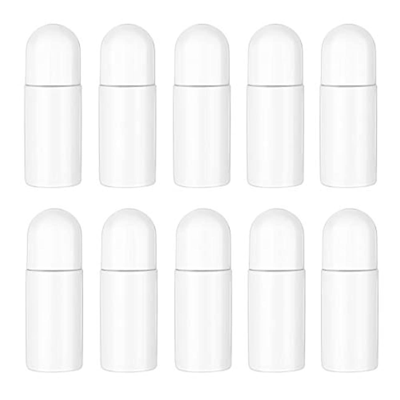 獣炭水化物タイルHealifty エッセンシャルオイル香水化粧品50 ml(白)の10ピースプラスチックローラーボトル空の詰め替え可能なローラーボールボトル