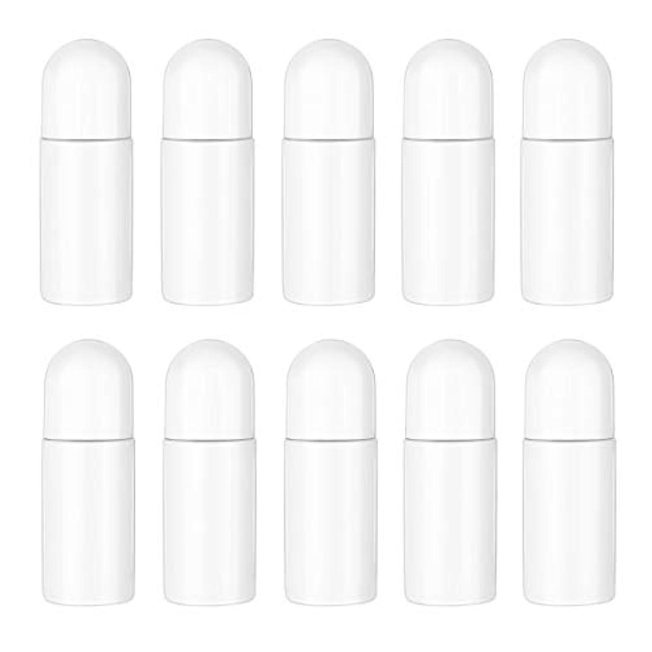 無声でレジ提供するHealifty エッセンシャルオイル香水化粧品50 ml(白)の10ピースプラスチックローラーボトル空の詰め替え可能なローラーボールボトル