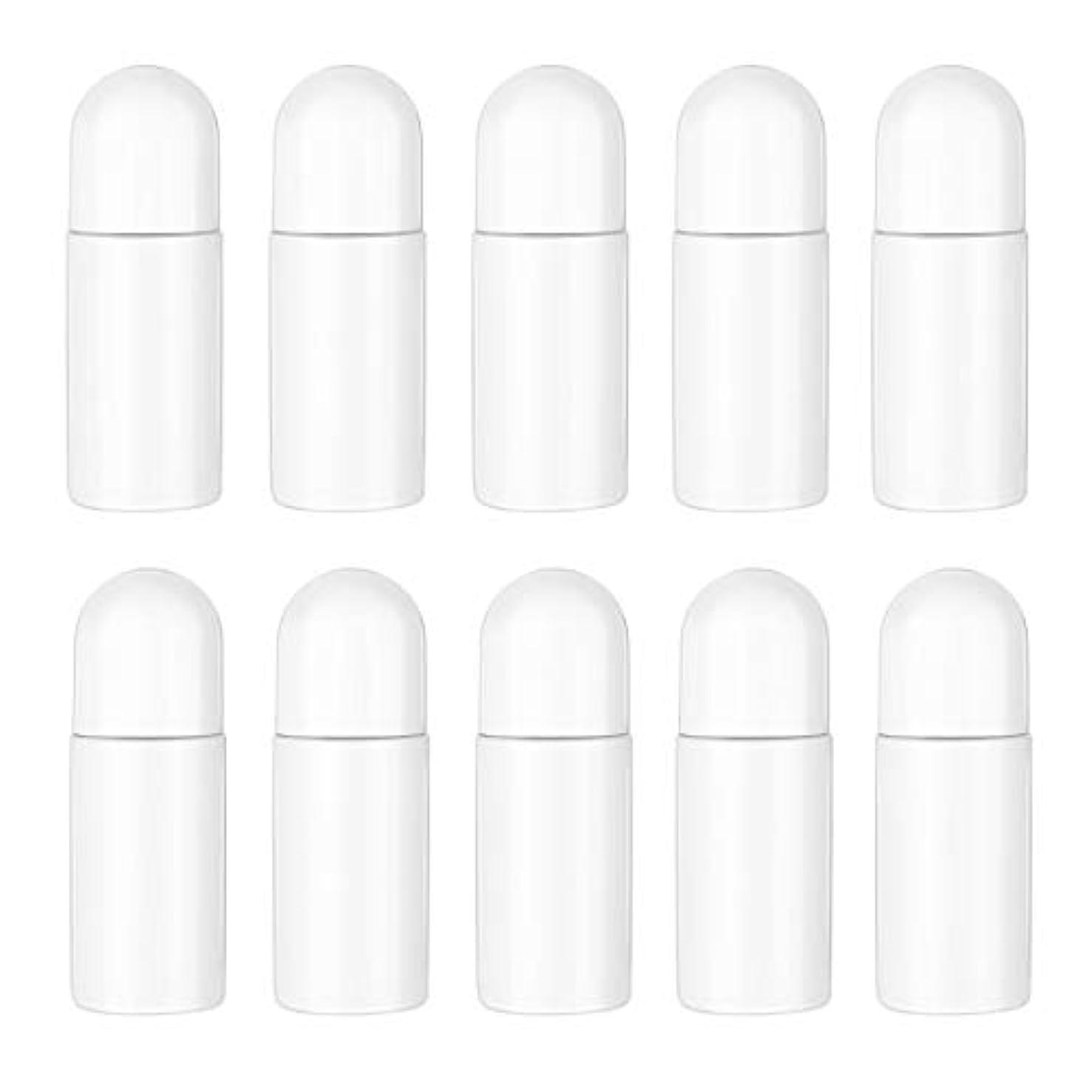 動機付ける資源気分が良いHealifty エッセンシャルオイル香水化粧品50 ml(白)の10ピースプラスチックローラーボトル空の詰め替え可能なローラーボールボトル