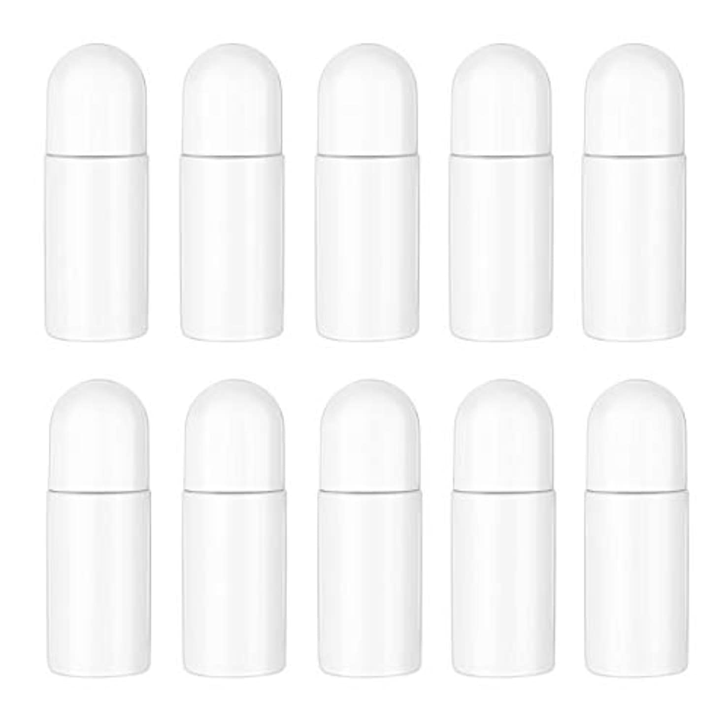 合法心配する摂動Healifty エッセンシャルオイル香水化粧品50 ml(白)の10ピースプラスチックローラーボトル空の詰め替え可能なローラーボールボトル