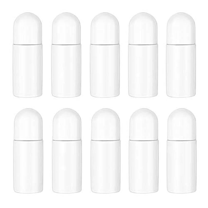 抜け目のない質素なコンサルタントHealifty エッセンシャルオイル香水化粧品50 ml(白)の10ピースプラスチックローラーボトル空の詰め替え可能なローラーボールボトル