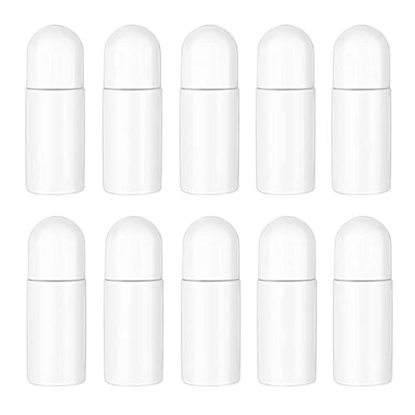 フェデレーション遠足複合Healifty エッセンシャルオイル香水化粧品50 ml(白)の10ピースプラスチックローラーボトル空の詰め替え可能なローラーボールボトル