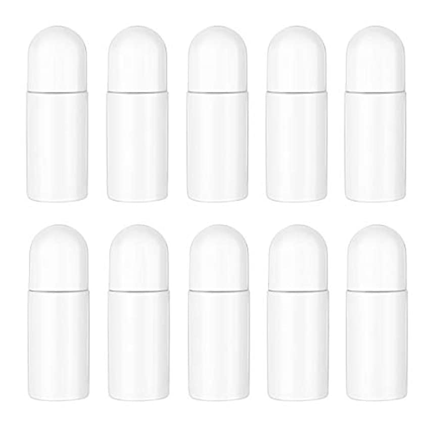 書き込み分子相談するHealifty エッセンシャルオイル香水化粧品50 ml(白)の10ピースプラスチックローラーボトル空の詰め替え可能なローラーボールボトル