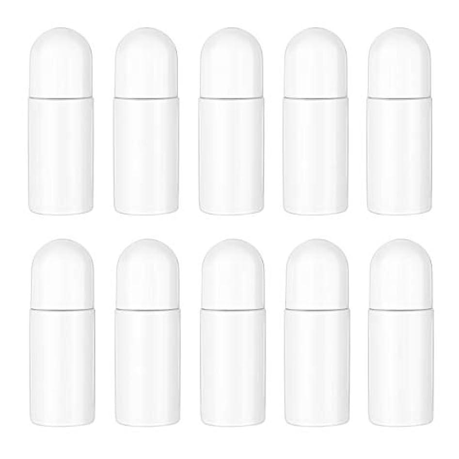男らしい拒絶する証拠Healifty エッセンシャルオイル香水化粧品50 ml(白)の10ピースプラスチックローラーボトル空の詰め替え可能なローラーボールボトル