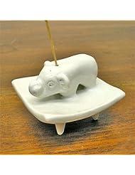お皿に乗った象さん お香立て<白> インセンスホルダー/スティックタイプ用お香立て?お香たて アジアン雑貨