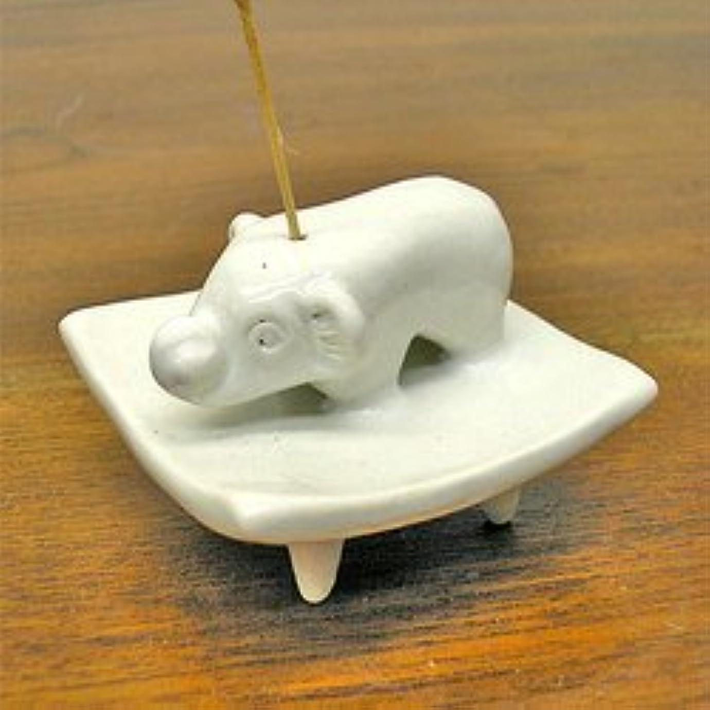 必要とする怠なに話すお皿に乗った象さん お香立て<白> インセンスホルダー/スティックタイプ用お香立て?お香たて アジアン雑貨