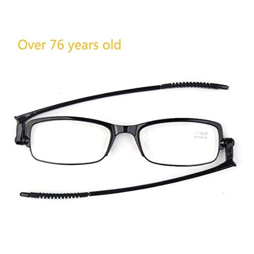 男性と女性用の老眼鏡、持ち運び可能な360度回転折りたたみ老眼鏡。折りたたみ後のフレームの重量はわずか0.1インチで、重量は6.9gです。 (黒/透明)