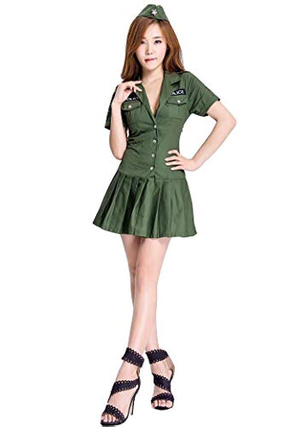 列車等価憎しみ(ホーマイ)HOOMAI 警察 ポリス レディース プリーツカート ハロウィン クリスマス コスプレ 衣装 仮装 S-XL フード ワンピース ネクタイ 3点セット 大きいサイズ XL グリーン