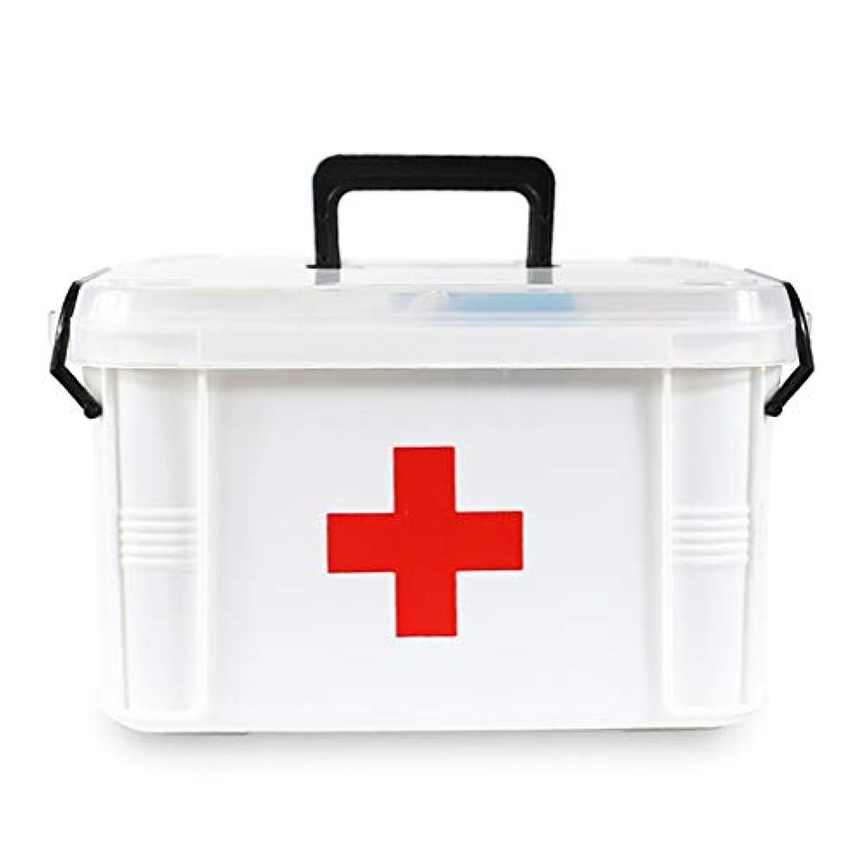 甘くするキリンマルクス主義HTDZDX プラスチック製医療ボックス、二重層医療収納応急処置コンテナ、大型緊急キット収納雑貨ボックス (Size : S)