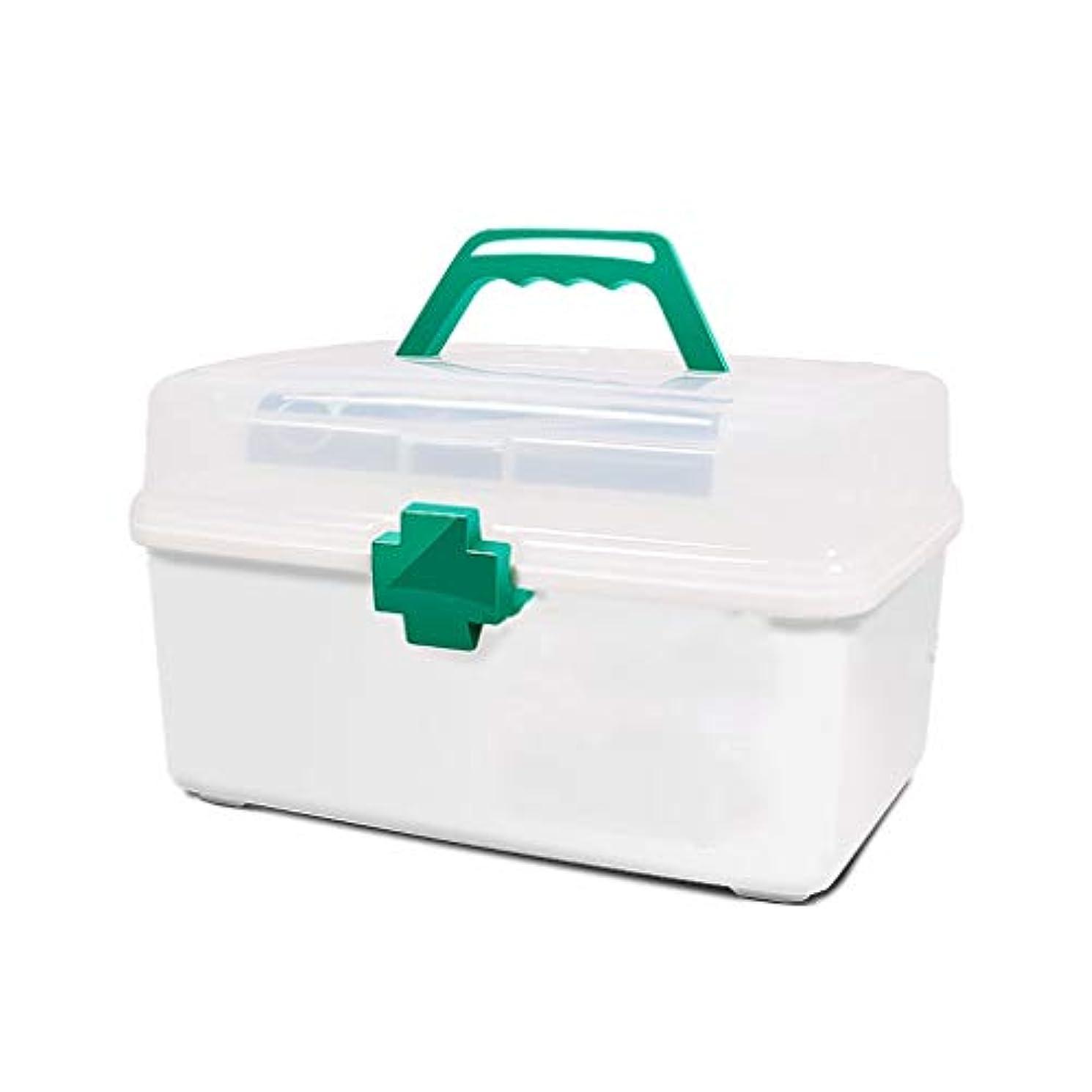 姉妹まもなく干渉する薬箱家庭用薬収納ボックスプラスチック白外来応急処置便利な携帯 HUXIUPING (Size : L)