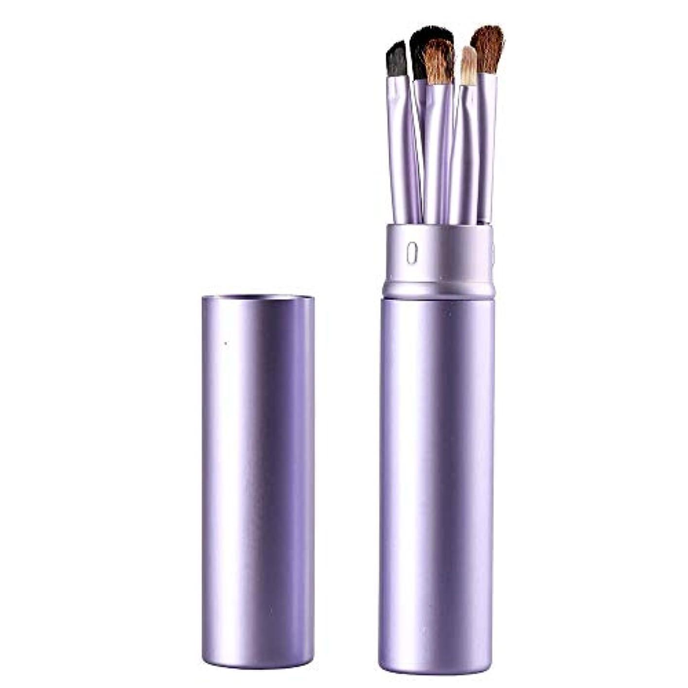 バクテリアニッケルグラスMakeup brushes 紫色、アイメイクブラシセットブラシ5アイブラシメイクペン美容メイクツールで化粧チューブ保護 suits (Color : Purple)