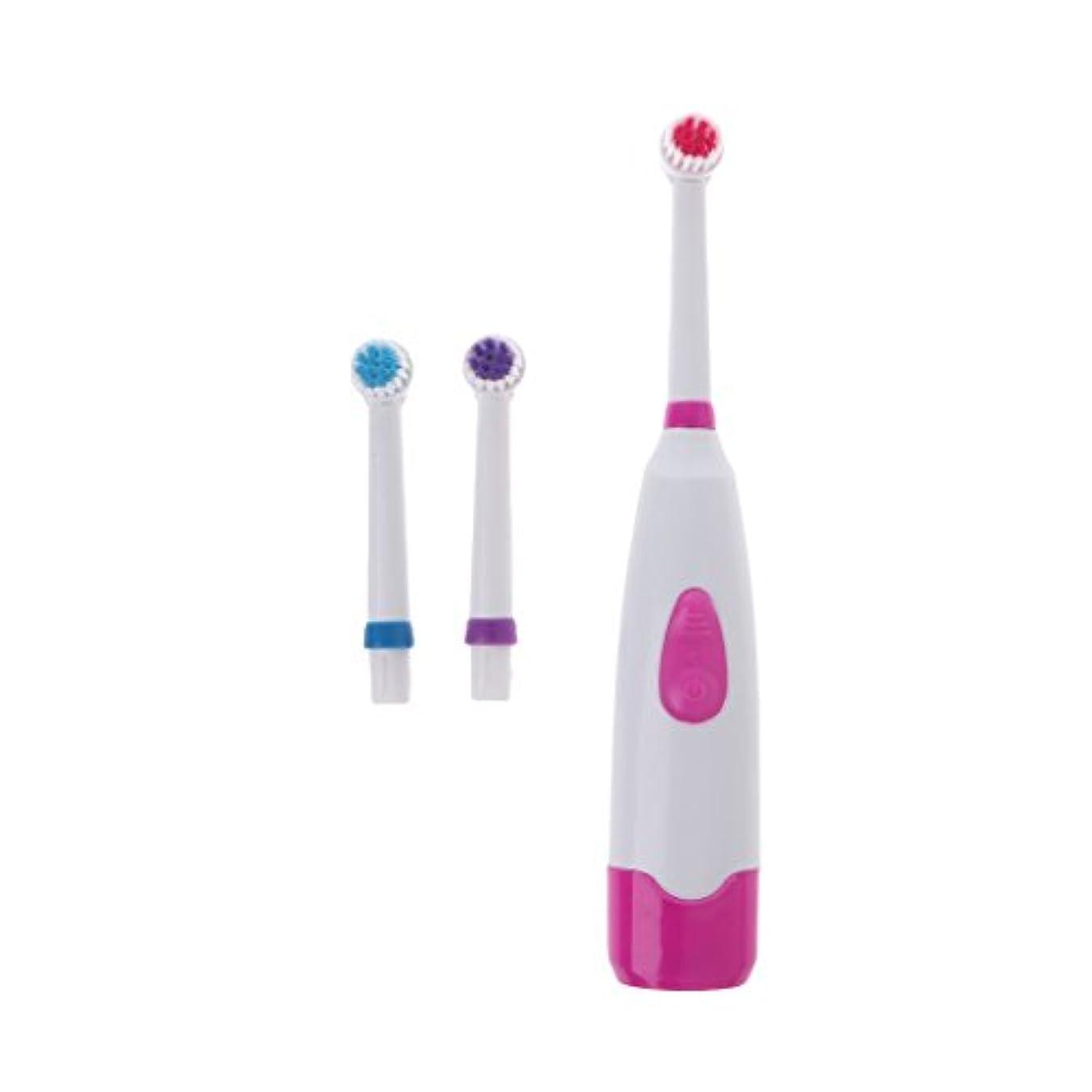 酸度圧倒的爆風Manyao 3ブラシヘッドで防水回転電動歯ブラシ (ピンク)