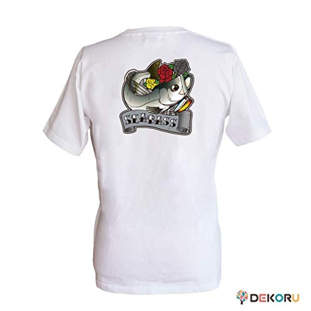 洗う軽くオーバーヘッドフィッシングTシャツ GYOTTOO シーバス バックプリント 白