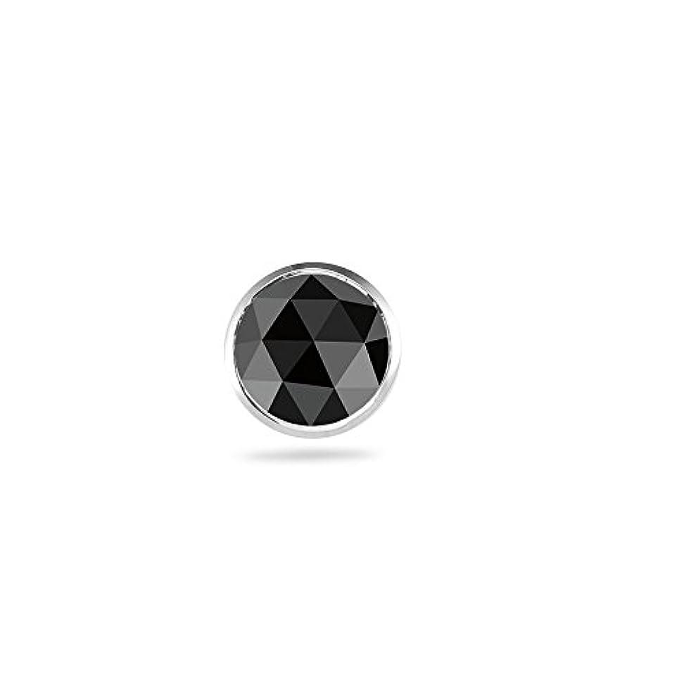 飢えたディーラーコントラスト0.37 – 0.42 CTSブラックダイヤモンドメンズスタッドイヤリング18 Kホワイトゴールド