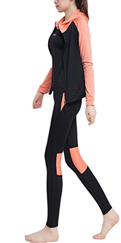(チェリーレッド) CherryRed レディース ヨガウェア フィットネス タンクトップ 速乾吸汗 フィットネスブラ 四点セット XL Orange