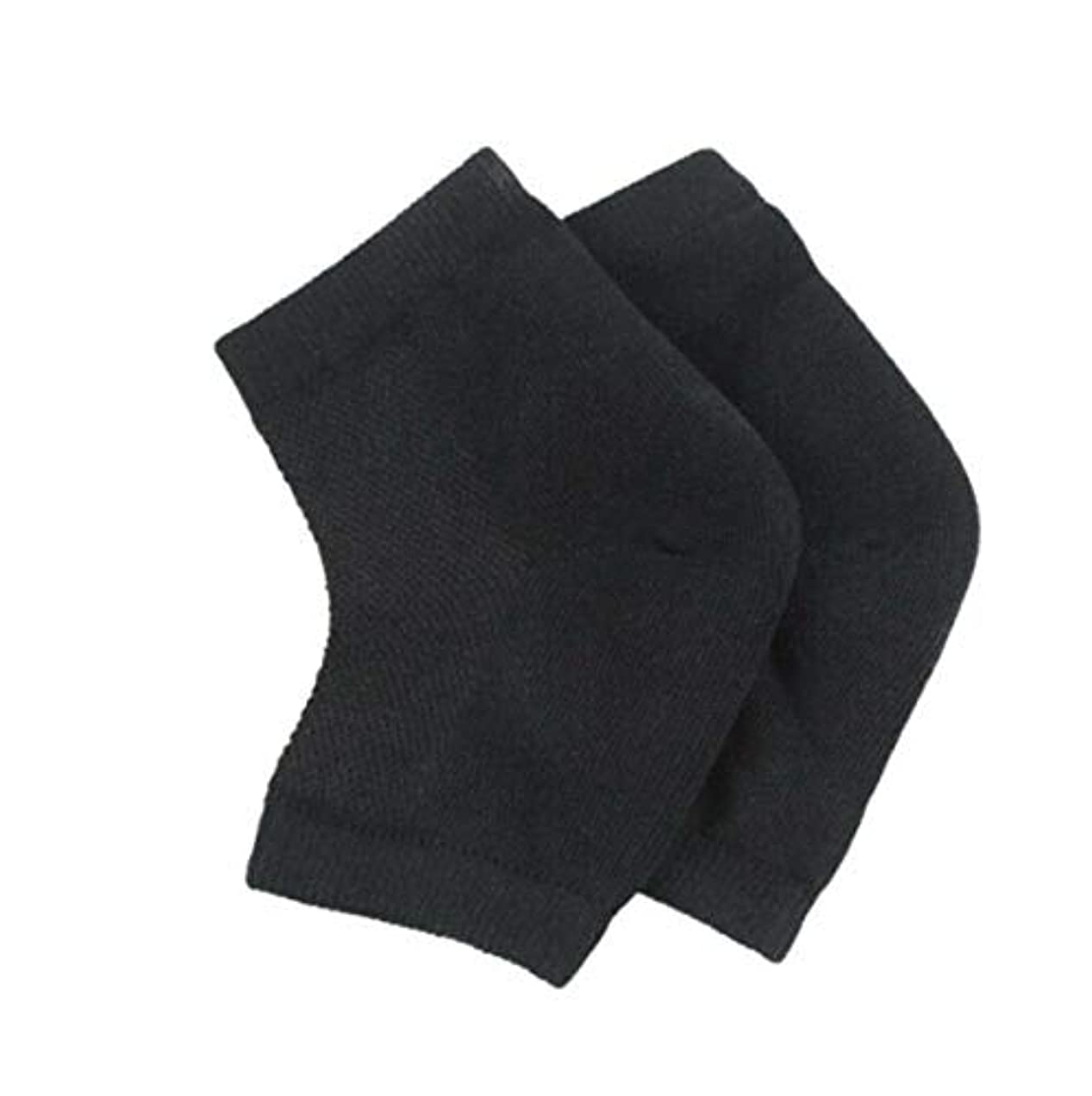 カメラ溶けた風味かかとケア靴下 足サポーター 半分ソックス 足首用 角質ケア/保湿/美容 左右セット フリーサイズ 男女適用 (黒色)