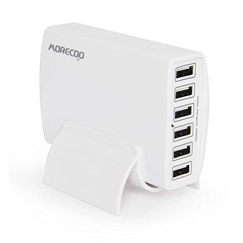 USB急速充電器 MORECOO 60W AC充電器(Quick Charge 6ポート) acアダプター チャージャー iPhone/Android/タブレットなど対応 縦置きスタンド付き (ホワイト)