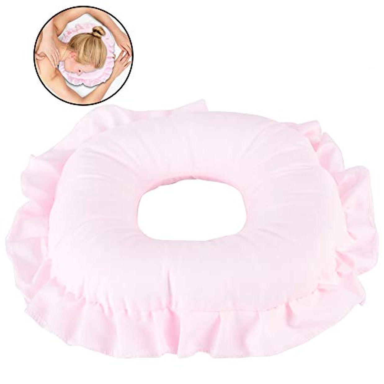 不注意ほうきピザスパマッサージ枕、ポリエステル顔リラックスサロンケア中空枕仮眠クッション(ピンク)