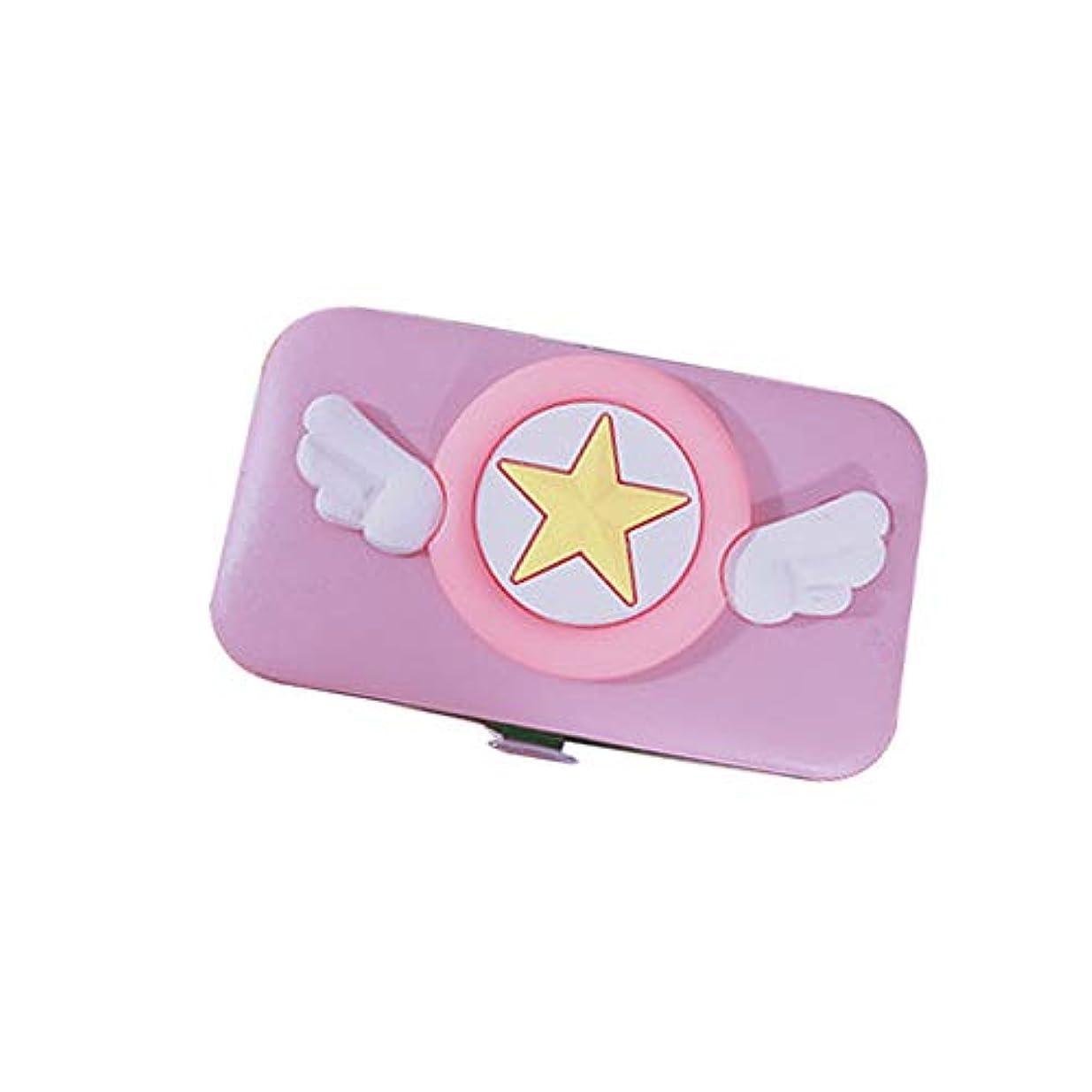 ポーズ淡い湖ビッグウィングネイルクリッパーセットネイルケアセット携帯便利 収納ケース付き、ピンク、7点セット