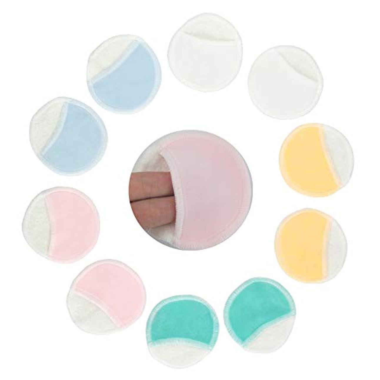 化粧落としパッド10ピースランダムカラーパッド洗えるワイプ竹繊維フェイシャルクリーニングでネットバッグ柔らかい少ない無駄ラウンドスキンケア再利用可能な化粧品ツール(ランダムカラー)