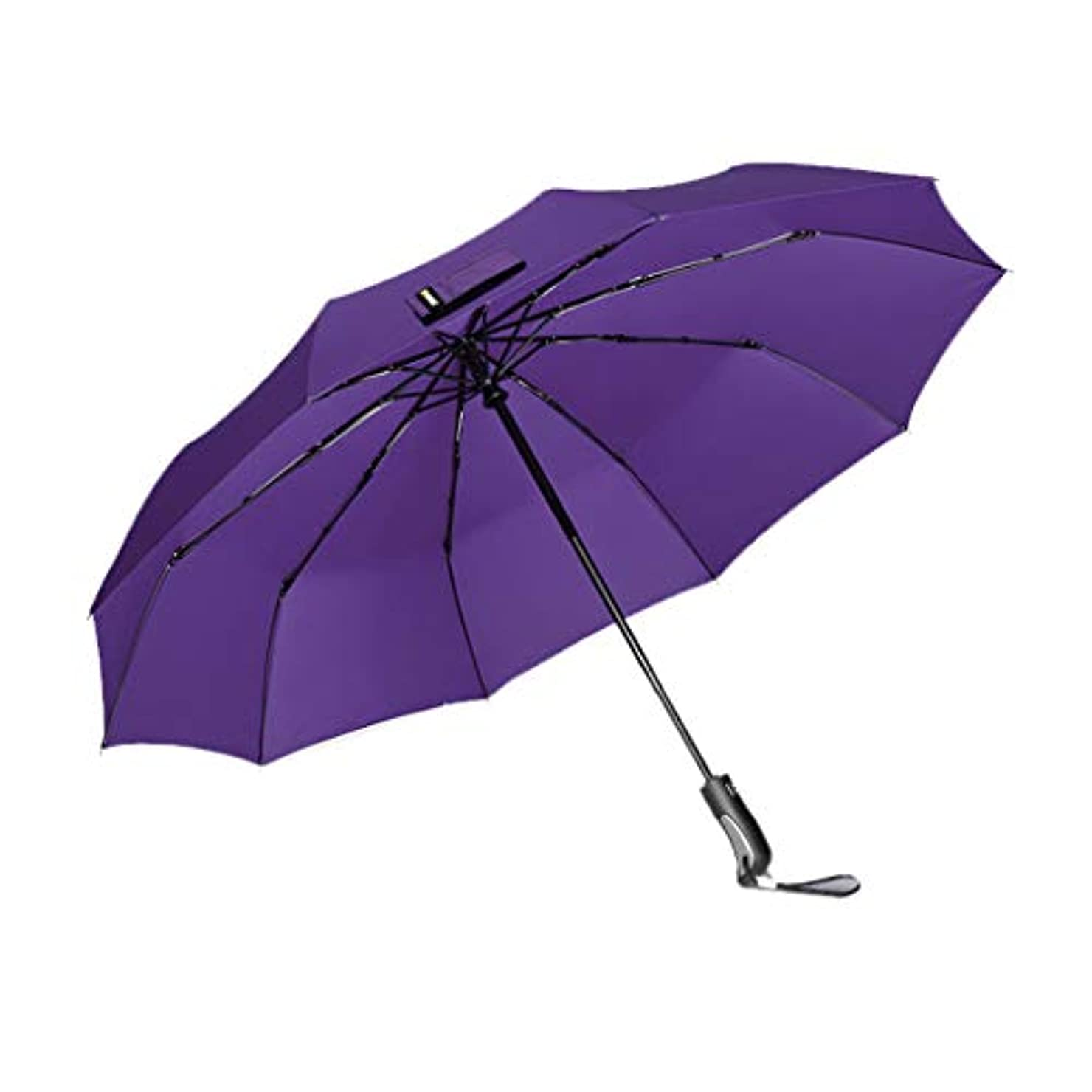 シャーロットブロンテホステル親指完全自動二重使用三つ折り大型強化フォールドインパクトクロス傘 (Color : Purple)
