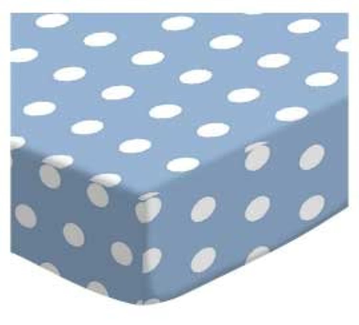SheetWorld Fitted Square Playard Sheet 37.5 x 37.5 (Fits Joovy) - Polka Dots Blue - Made In USA by sheetworld