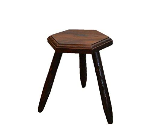 アンティーク調 スペイン木製六角スツール 完成品 ダークブラウンでクラシック...