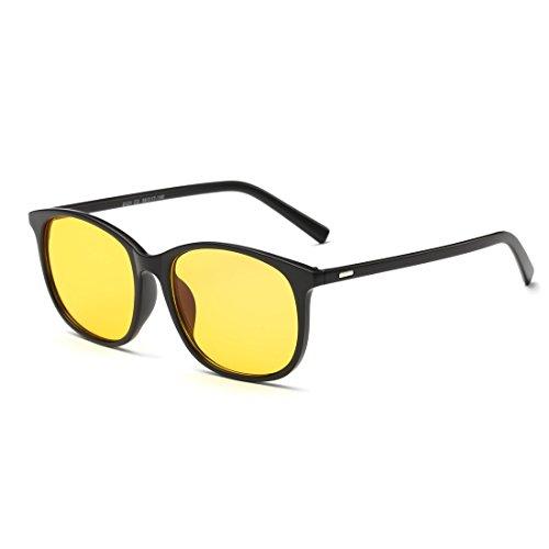 Cyxus(シクサズ)青色光カットメガネ [透明レンズ] オーバーサイズ PCメガネ パソコン用メガネ 視力保護 輻射防止 目の疲れを緩和 肌に優しい 睡眠改善 ファッション 復古 男女兼用(イエローレンズ/黒縁)
