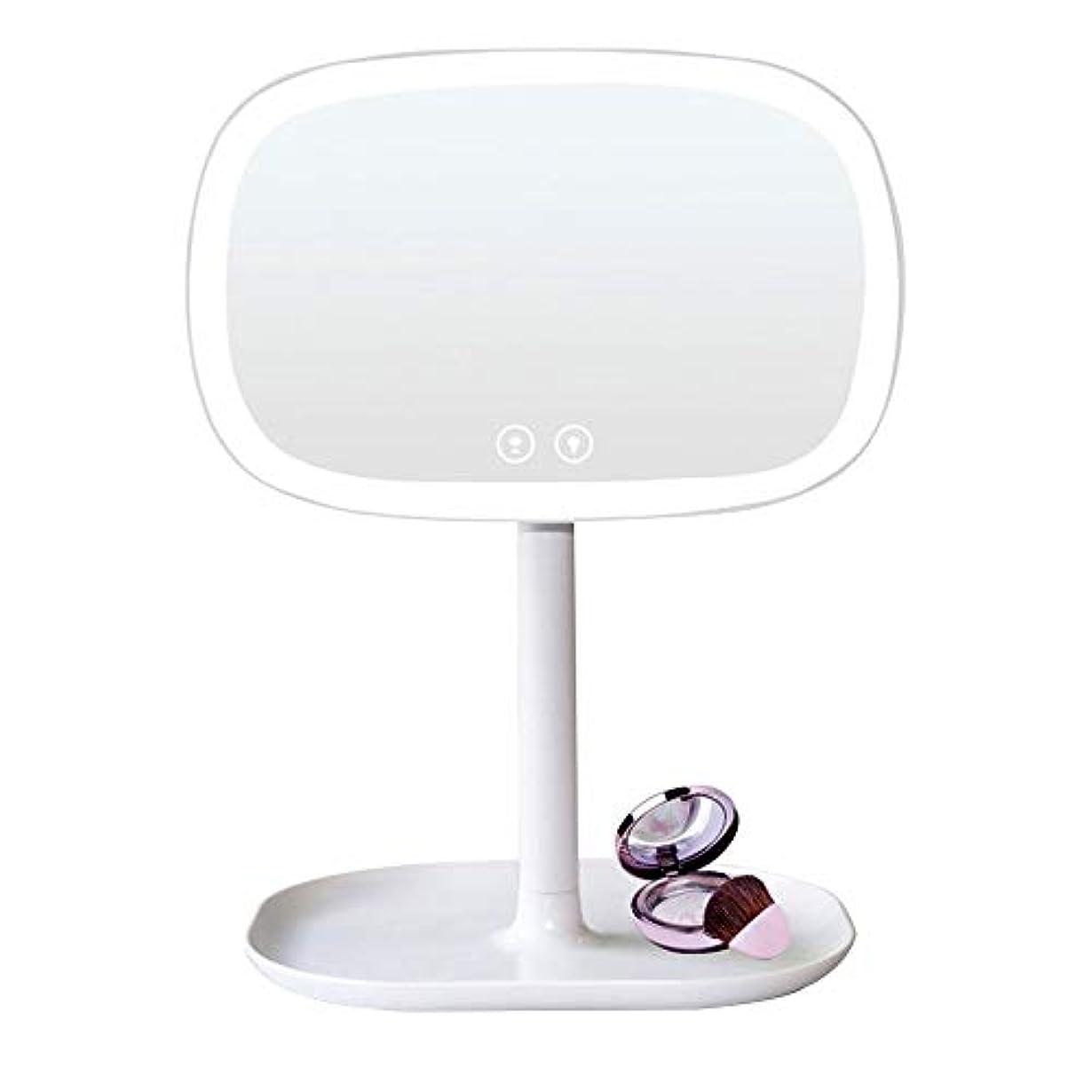 ストライプ名誉矢充電式 化粧鏡 10倍拡大鏡充電式タッチコントロール360度スイベルデスクトップバニティミラーLED表ナイトライトカウンター照明付き化粧化粧鏡 寒暖色調節可能 化粧鏡 (色 : 白, サイズ : ワンサイズ)