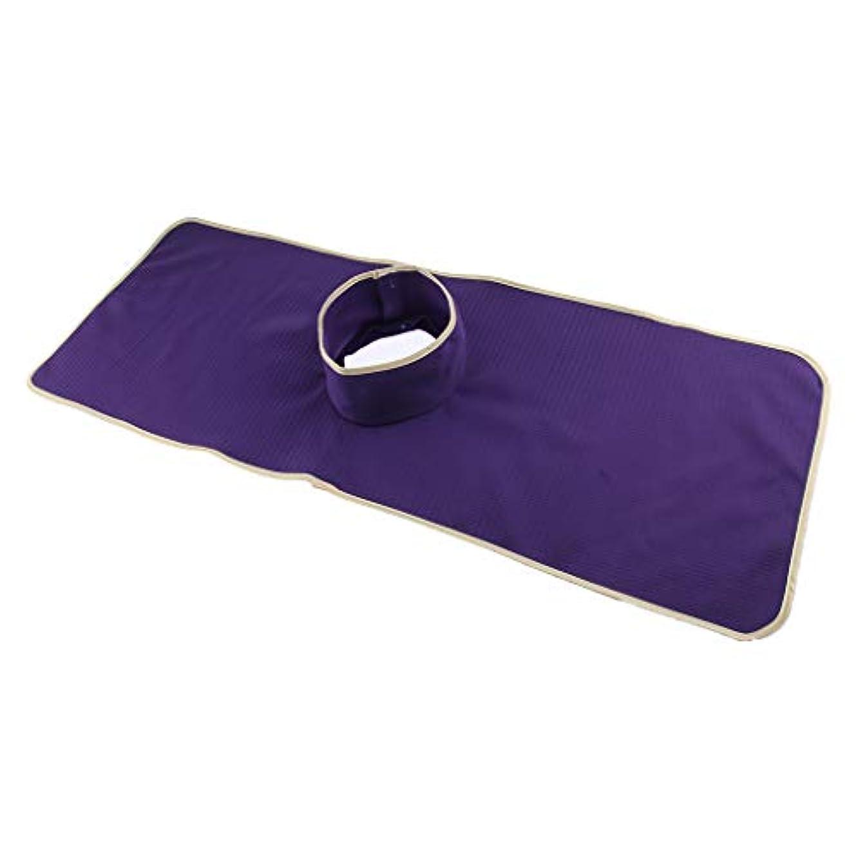 うんざり簡単な置換洗える指圧マッサージベッドタトゥーテーブルシートパッドマットフェイスホールカバー - 紫