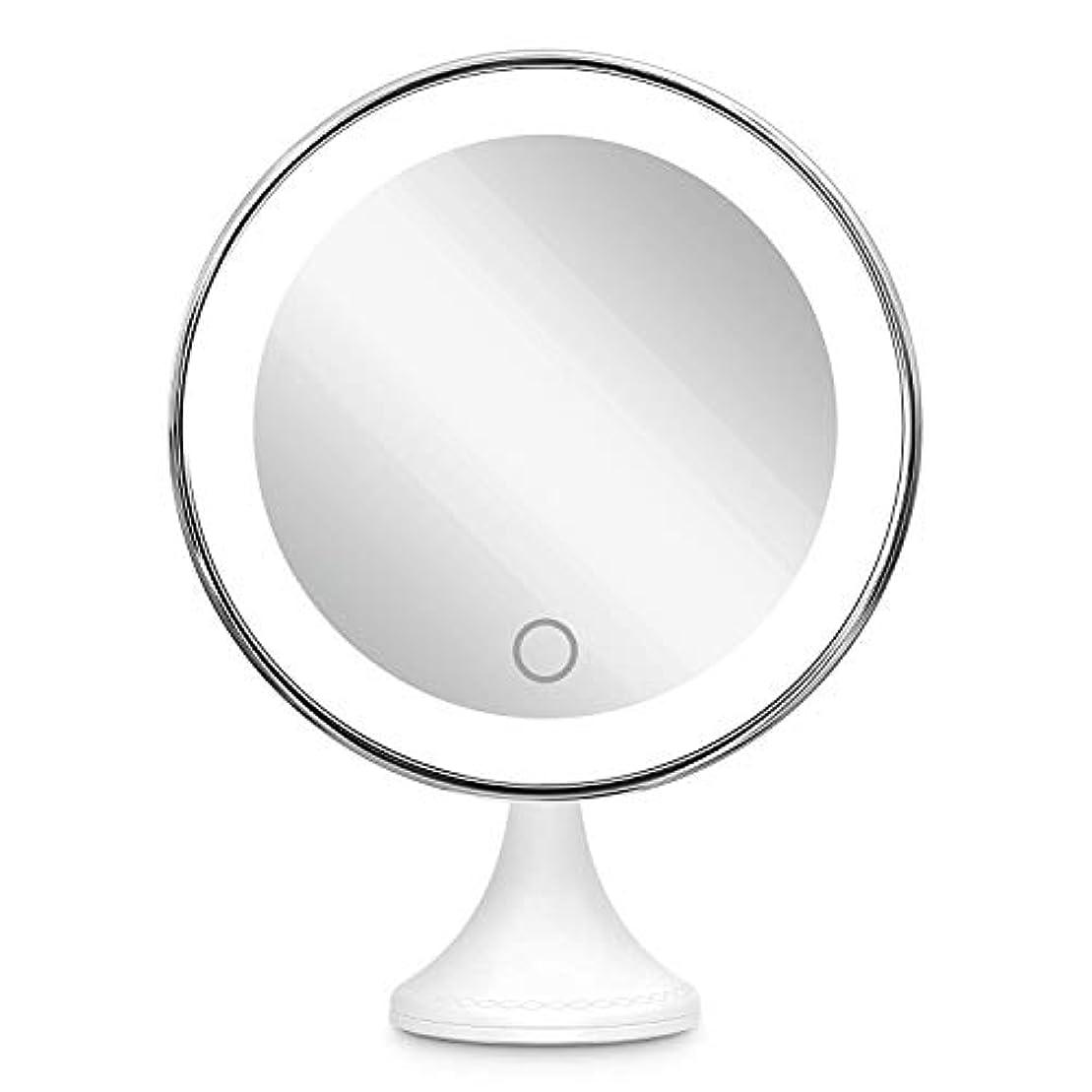 最高沈黙どうしたの10倍拡大鏡 BEQOOL LED化粧鏡 化粧 拡大鏡 浴室鏡 女優ミラー 卓上鏡 壁掛けメイクミラー 吸着力が強いシリカゲル台座付き LEDの明るさと色調節でき 360度回転 単四電池&USB給電対応 ホワイト