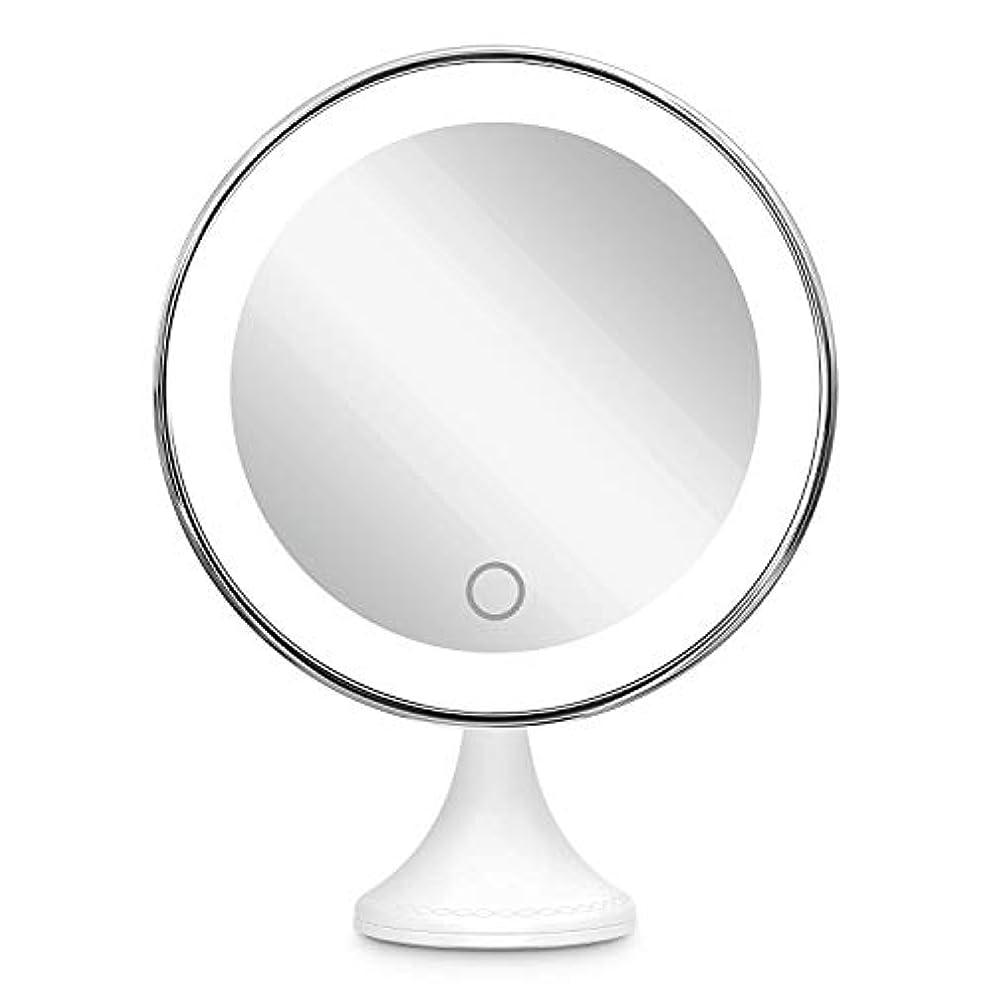 ピース残る歌10倍拡大鏡 BEQOOL LED化粧鏡 化粧 拡大鏡 浴室鏡 女優ミラー 卓上鏡 壁掛けメイクミラー 吸着力が強いシリカゲル台座付き LEDの明るさと色調節でき 360度回転 単四電池&USB給電対応 ホワイト