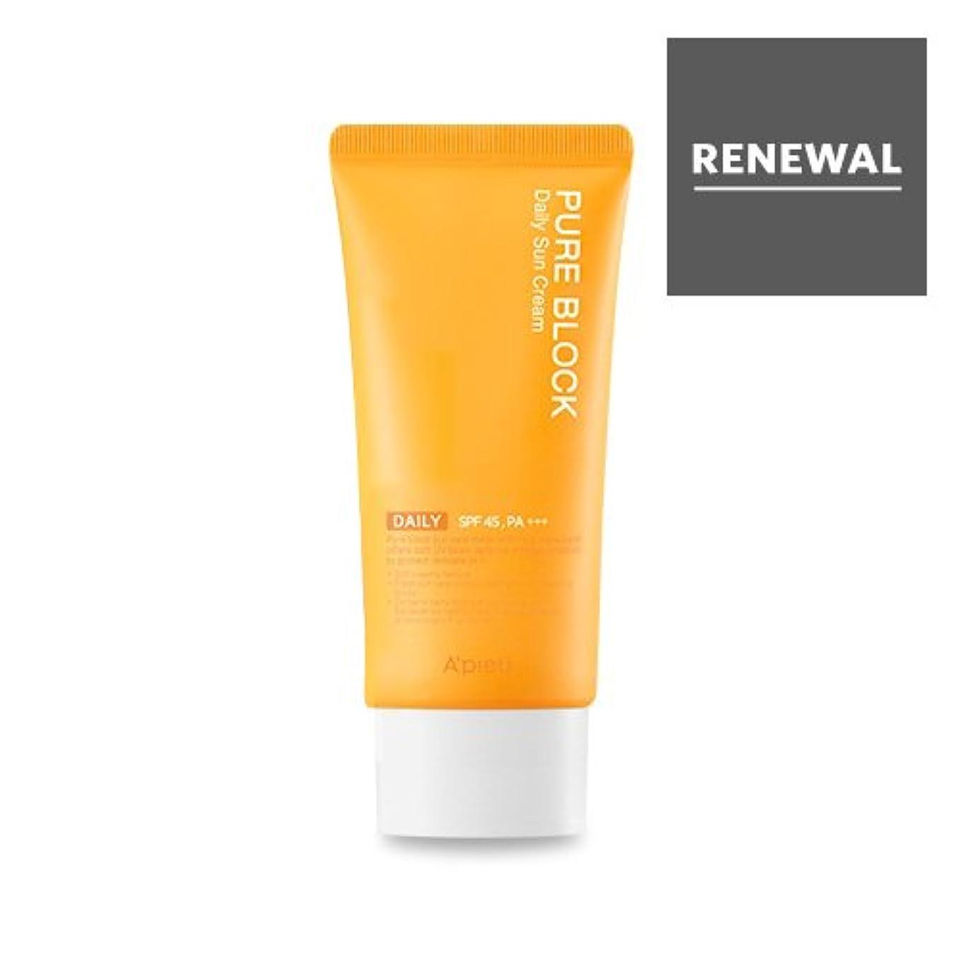 労苦消費する精度APIEU Pure Block Daily Sun Cream SPF45/PA+++/アピュ ピュア ブロック デイリー サンクリーム 50ml [並行輸入品]