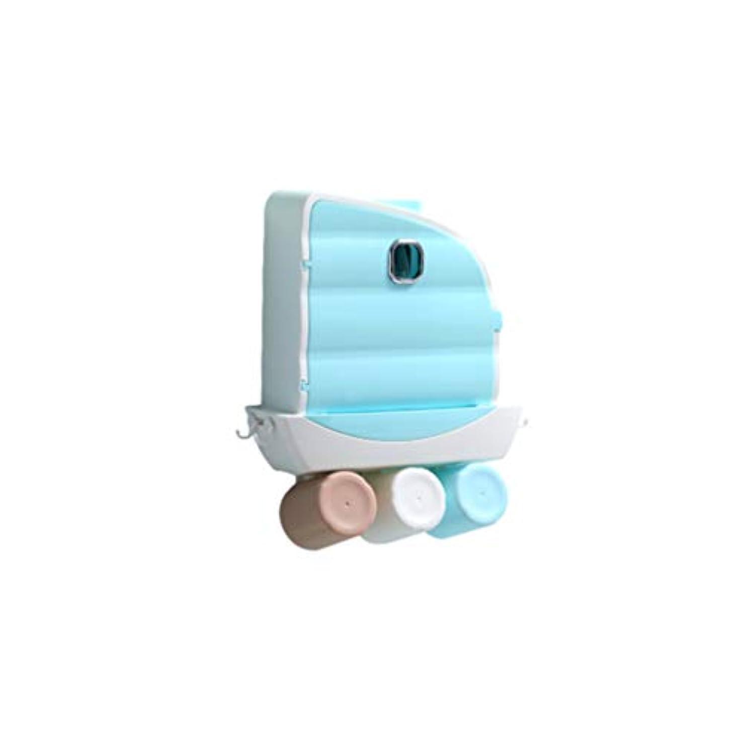 心のこもった約束する刈るHealifty 歯ブラシホルダー壁掛け歯磨き粉スクイーザーキット(3カップ付き)